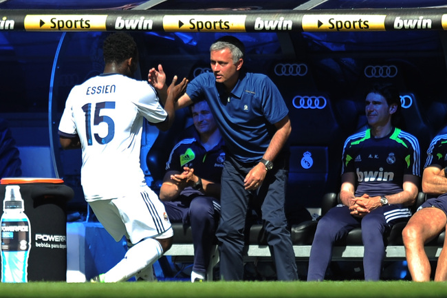 MADRID, SPAIN - JUNE 01:  Michael Essien (L) of Real Madrid CF celebrates scoring their second goal with head coach Jose Mourinho during the La Liga match between Real Madrid CF and CA Osasuna at estadio Santiago Bernabeu on June 1, 2013 in Madrid, Spain.