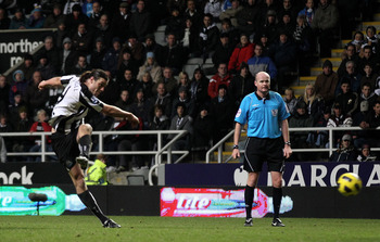 Carroll netting his last goal for Newcastle before moving to Liverpool