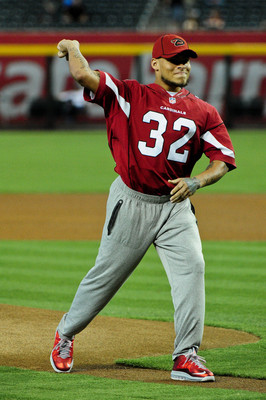 Mathieu threw out the first pitch at an Arizona Diamondbacks game.