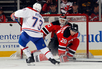 Montreal Canadien Michael Ryder takes a shot on New Jersey Devil Martin Brodeur.