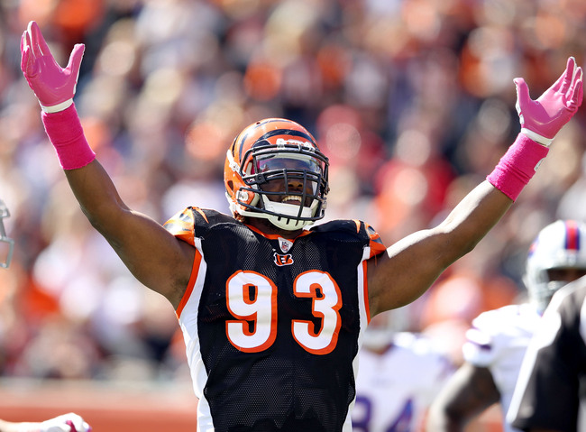 CINCINNATI, OH - OCTOBER 02: Michael Johnson #93 of the Cincinnati Bengals celebrates during the 23-20 victory against the Buffalo Bills at Paul Brown Stadium on October 2, 2011 in Cincinnati, Ohio.  (Photo by Andy Lyons/Getty Images)