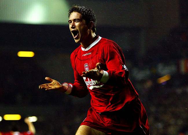 LIVERPOOL, ENGLAND - NOVEMBER 30:  Harry Kewell of Liverpool celebrates after scoring the second goal during the FA Barclaycard Premiership match between Liverpool and Birmingham City at Anfield on Novermber 30, 2003 in Liverpool, England.  (Photo by Mich