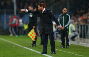 Andre Villas-Boas on the sideline away at Basel.