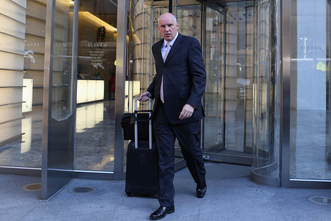 NEW YORK, NY - DECEMBER 05: Doug Armstrong Executive Vice President of the St. Louis Blues leaves the leagues legal offices following the National Hockey League Board of Governors meeting on December 5, 2012 in New York City.  (Photo by Bruce Bennett/Gett