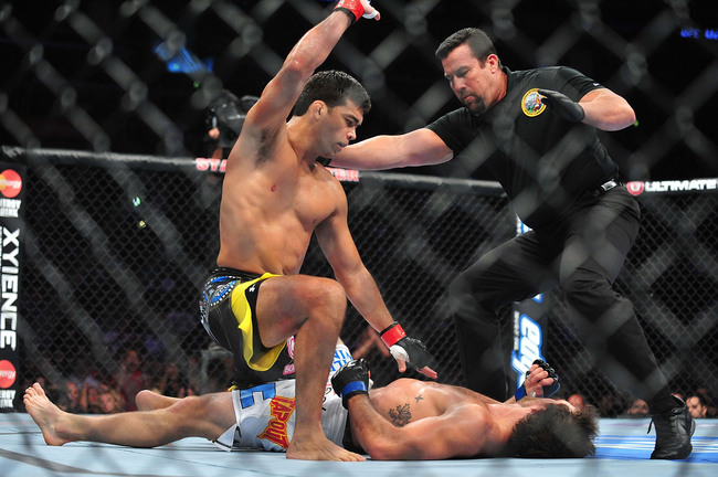 August 4, 2012; Los Angeles, CA, USA; Lyoto Machida knocks out Ryan Bader during the light heavyweight match at Staples Center. Mandatory Credit: Gary A. Vasquez-USA TODAY Sports