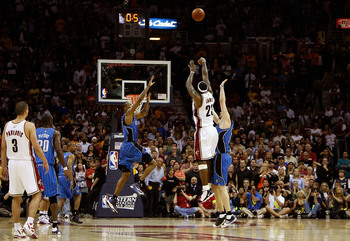 LeBron James shooting his iconic Game 2 buzzer-beating shot against the Orlando Magic