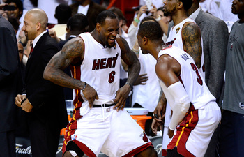 LeBron James and Dwyane Wade celebrating in the waning minutes of Game 5 of the 2012 Finals