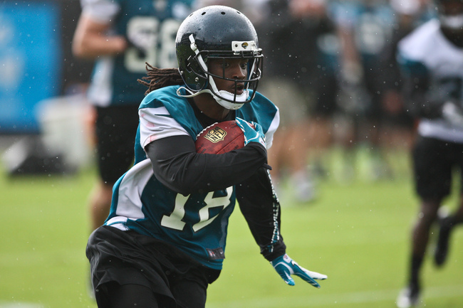 May 3, 2013; Jacksonville, FL, USA; Jacksonville Jaguars wide receiver Ace Sanders (18) rushes during a rookie minicamp held at Everbank Field. Mandatory Credit: Rob Foldy-USA TODAY Sports