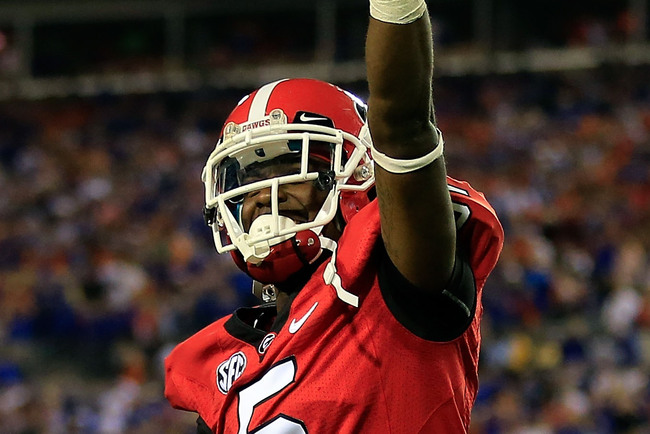 JACKSONVILLE, FL - OCTOBER 27:  Damian Swann #5 of the Georgia Bulldogs points to the crowd following the game against the Florida Gators at EverBank Field on October 27, 2012 in Jacksonville, Florida.  (Photo by Sam Greenwood/Getty Images)