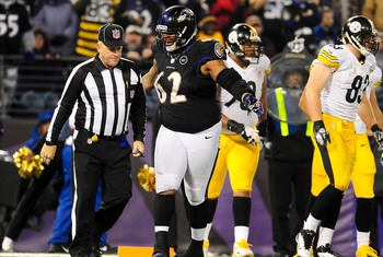 December 2, 2012;Baltimore, MD, USA;Baltimore Ravens defensive tackle Terrence Cody (62) talks to an official during the game against the Pittsburgh Steelers at M&T Bank Stadium. Mandatory Credit:  Evan Habeeb-USA TODAY Sports