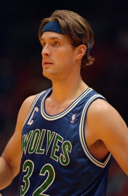 5 Dec 1993: Center Christian Laettner of the Minnesota Timberwolves relaxes on the court during of break in the action of the Timberwolves 101-99 loss to the Los Angeles Lakers at the Great Western Forum in Inglewood, California.