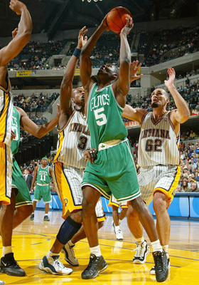 INDIANAPOLIS - NOVEMBER 11:  Kedrick Brown #5 of the Boston Celtics shoots the ball during the game against the Indiana Pacers on November11, 2003 at Conseco Fieldhouse in Indianapolis, Indiana.  NOTE TO USER: User expressly acknowledges and agress that,