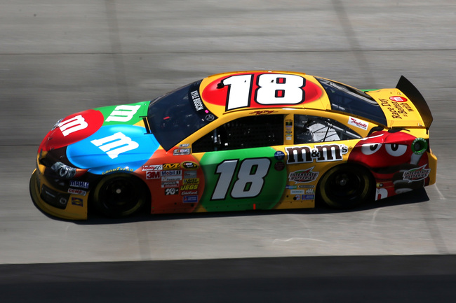 DOVER, DE - MAY 31:  Kyle Busch, driver of the #18 M&M's Toyota, practices for the NASCAR Sprint Cup Series FedEx 400 benefiting Autism Speaks at Dover International Speedway on May 31, 2013 in Dover, Delaware.  (Photo by Mark Wilson/Getty Images)