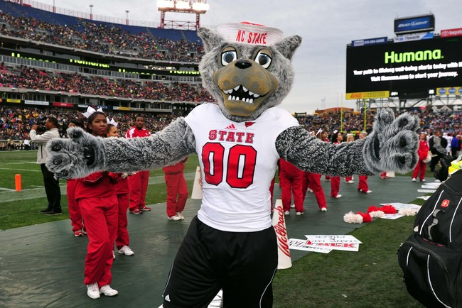 Dec 31, 2012; Nashville, TN, USA; North Carolina State Wolfpack mascot performs in a game against the Vanderbilt Commodores during the first half of the Music City Bowl at LP Field. The Commodores beat the Wolfpack 38-24. Mandatory credit: Don McPeak-USA