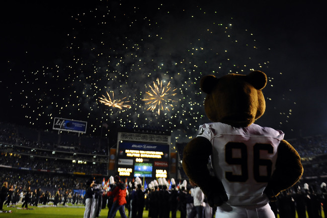 December 27, 2012; San Diego, CA, USA; Baylor Bears mascot watches the end of the halftime firework show before the start of the second half against the UCLA Bruins in the Holiday Bowl at Qualcomm Stadium. Mandatory Credit: Christopher Hanewinckel-USA TOD