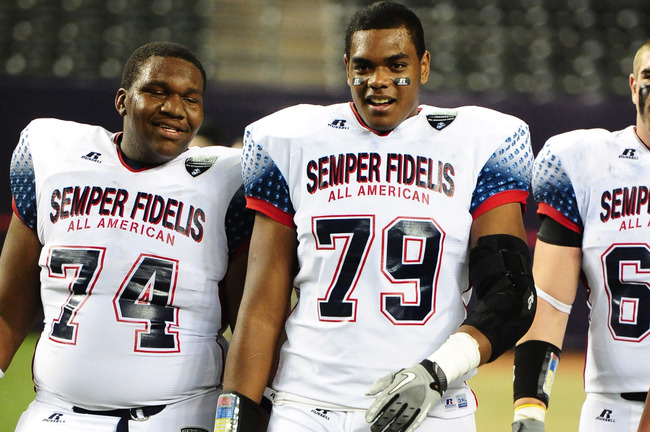 Jan. 3, 2012; Phoenix, AZ, USA; West center (74) Matt Cochran and offensive tackle (79) Ronnie Stanley against the East during the Semper Fidelis All-American Bowl high school football game at Chase Field. Mandatory Credit: Mark J. Rebilas-USA TODAY Sport