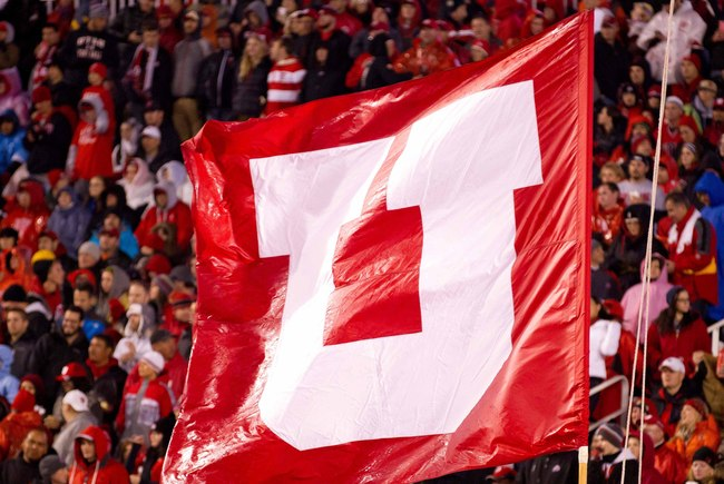 November 17, 2012; Salt Lake City, UT, USA; A Utah Utes flag is displayed during a game against the Arizona Wildcats at Rice-Eccles Stadium. The Wildcats defeated the Utes 34-24. Mandatory Credit: Russ Isabella-USA TODAY Sports