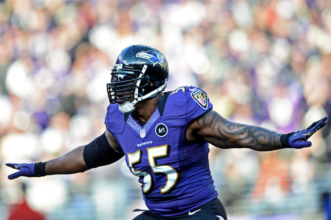 BALTIMORE, MD - JANUARY 06: Linebacker Terrell Suggs #55 of the Baltimore Ravens celebrates after a hit against the Indianapolis Colts during the AFC Wild Card Playoff Game at M&T Bank Stadium on January 6, 2013 in Baltimore, Maryland. (Photo by Patrick S