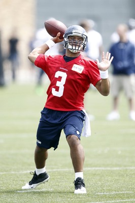 May 20, 2013; Seattle, WA, USA; Seattle Seahawks quarterback Russell Wilson (3) participates in organized team activities at the Virginia Mason Athletic Center Mandatory Credit: Joe Nicholson-USA TODAY Sports