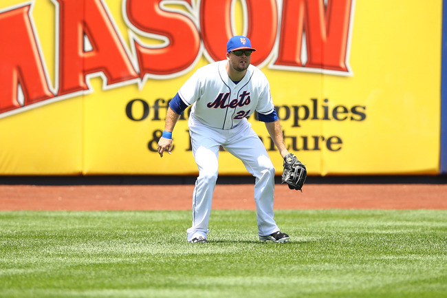NEW YORK, NY - JUNE 15: Lucas Duda #21 of the New York Mets  in action against the Chicago Cubs during their game on June 15, 2013 at Citi Field in the Flushing neighborhood of the Queens borough of New York City.  (Photo by Al Bello/Getty Images)