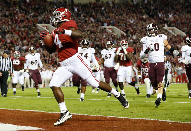TUSCALOOSA, AL - OCTOBER 27:  T.J. Yeldon #4 of the Alabama Crimson Tide scores a touchdown against the Mississippi State Bulldogs at Bryant-Denny Stadium on October 27, 2012 in Tuscaloosa, Alabama.  (Photo by Kevin C. Cox/Getty Images)