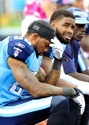 NASHVILLE, TN - OCTOBER 23:  Anthony Smith #25 of the Tennessee Titans sits on the bench during the final minute of his team's loss to the Houston Texans during play at LP Field on October 23, 2011 in Nashville, Tennessee. Houston won 41-7.  (Photo by Gra