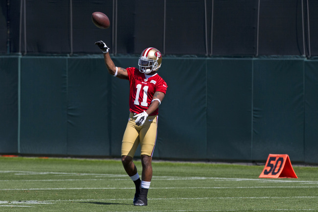 SANTA CLARA, CA - MAY 10: Quinton Patton #11 of the San Francisco 49ers throws a football during the San Francisco 49ers rookie minicamp at their training facility on May 10, 2013 in Santa Clara, California.  Photo by Jason O. Watson/Getty Images)