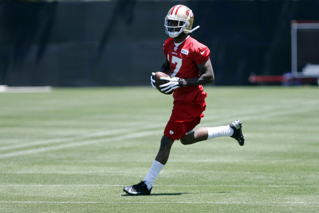 May 22, 2013; Santa Clara, CA, USA; San Francisco 49ers wide receiver A.J. Jenkins (17) carries the ball during organized team activities at the 49ers training complex. Mandatory Credit: Kelley L Cox-USA TODAY Sports