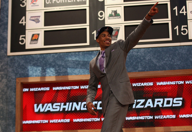 NEW YORK, NY - JUNE 27:  Otto Porter of Georgetown reacts after he was drafted #3 overall in the first round by the Washington Wizards during the 2013 NBA Draft at Barclays Center on June 27, 2013 in in the Brooklyn Bourough of New York City.  NOTE TO USE
