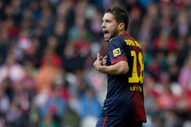 BILBAO, SPAIN - APRIL 27: Jordi Alba of FC Barcelona reacts during the La Liga match between Athletic Club de Bilbaoand FC Barcelona at San Mames Stadium on April 27, 2013 in Bilbao, Spain.  (Photo by Gonzalo Arroyo Moreno/Getty Images)