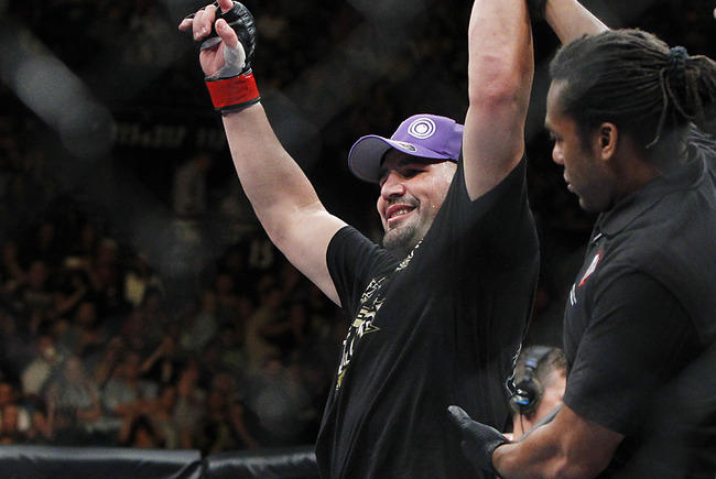 May 25, 2013; Las Vegas, NV, USA; Glover Teixeira reacts to his victory over James Te Huna during UFC 160 at the MGM Grand Garden Arena. Mandatory Credit: Gary A. Vasquez-USA TODAY Sports