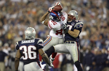 WR David Tyree made the catch of the game in Super Bowl XLII.