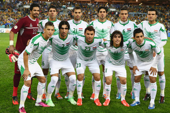 SYDNEY, AUSTRALIA - JUNE 18: The Iraq team pose for a team photo before the FIFA 2014 World Cup Asian Qualifier match between the Australian Socceroos and Iraq at ANZ Stadium on June 18, 2013 in Sydney, Australia.  (Photo by Mark Kolbe/Getty Images)