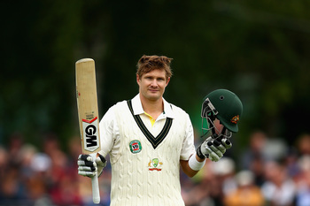 Watson acknowledges the crowd after reaching a century