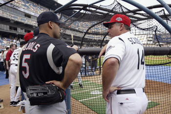 An interesting pairing back in 2003. Pujols chats with Mike Scioscia during batting practice before the 2003 All-Star Game.