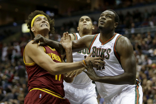 MILWAUKEE, WI - NOVEMBER 03: Samuel Dalembert #3 of the Milwaukee Bucks boxes out for the rebounds against Anderson Varejao #17 of the Cleveland Cavaliers during the game at Bradley Center on November 3, 2012 in Milwaukee, Wisconsin. NOTE TO USER: User ex