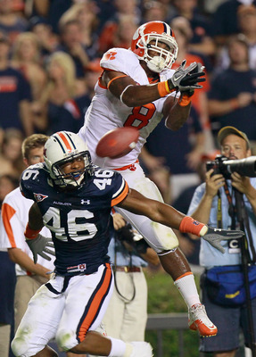 AUBURN, AL - SEPTEMBER 18:  Jamie Harper #8 of the Clemson Tigers fails to pull in this reception against Craig Stevens #46 of the Auburn Tigers at Jordan-Hare Stadium on September 18, 2010 in Auburn, Alabama.  (Photo by Kevin C. Cox/Getty Images)