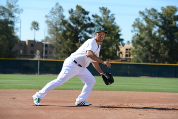 This is the closest we have come to seeing Nakajima in A's green, white, and gold