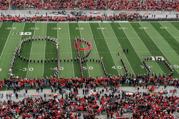 "The Ohio State band writing ""Ohio"" at Ohio Stadium"