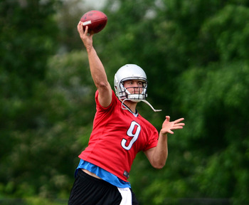 June 11, 2013; Allen Park, MI, USA; Detroit Lions quarterback Matthew Stafford (9) during mini camp at Lions training facility. Mandatory Credit: Andrew Weber-USA TODAY Sports
