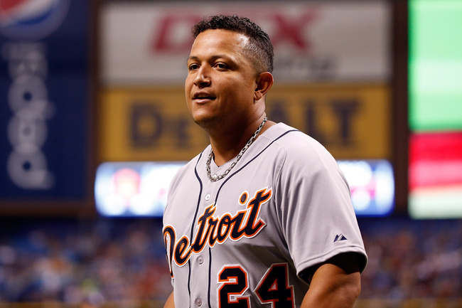 ST. PETERSBURG - JUNE 29:  Infielder Miguel Cabrera #24 of the Detroit Tigers smiles after scoring a run in the third inning against the Tampa Bay Rays during the game at Tropicana Field on June 29, 2013 in St. Petersburg, Florida.  (Photo by J. Meric/Get