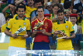 Fernando Torres could hardly contain his joy at winning the Confederations Cup Golden Boot.