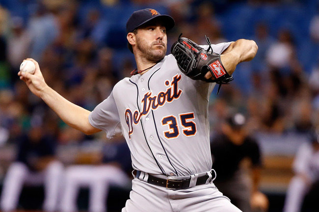 ST PETERSBURG, FL - JUNE 29:  Pitcher Justin Verlander #35 of the Detroit Tigers pitches against the Tampa Bay Rays during the game at Tropicana Field on June 29, 2013 in St. Petersburg, Florida.  (Photo by J. Meric/Getty Images)