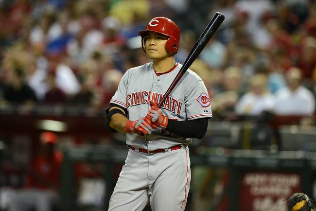 PHOENIX, AZ - JUNE 21:  Shin-Soo Choo #17 of the Cincinnati Reds gets ready in the batters box against the Arizona Diamondbacks at Chase Field on June 21, 2013 in Phoenix, Arizona.  (Photo by Norm Hall/Getty Images)