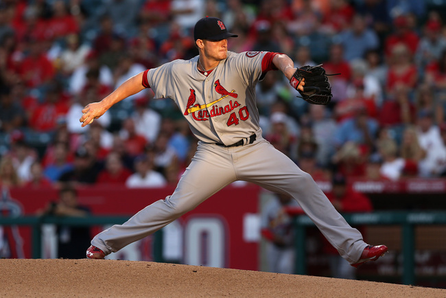 ANAHEIM, CA - JULY 03:  Shelby Miller #40 of the St. Louis Cardinals pitches against the Los Angeles Angels of Anaheim in the first inning at Angel Stadium of Anaheim on July 3, 2013 in Anaheim, California.  (Photo by Jeff Gross/Getty Images)