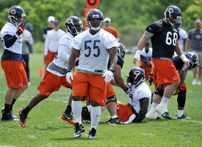 Jun 11, 2013; Lake Forest, IL, USA; Chicago Bears linebacker Lance Briggs (55) during minicamp at Halas Hall. Mandatory Credit: David Banks-USA TODAY Sports