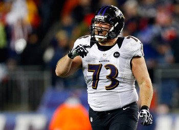 FOXBORO, MA - JANUARY 20:  Marshal Yanda #73 of the Baltimore Ravens reacts after play against the New England Patriots during the 2013 AFC Championship game at Gillette Stadium on January 20, 2013 in Foxboro, Massachusetts.  (Photo by Jared Wickerham/Get