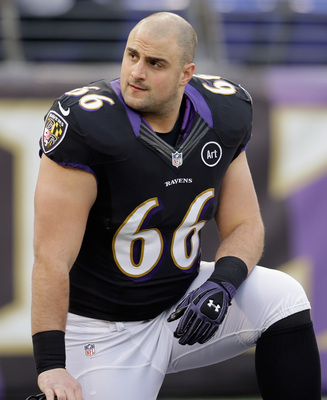 BALTIMORE, MD - DECEMBER 02:  Guard Gino Gradkowski #66 of the Baltimore Ravens  looks on before the start of the Ravnes game against the Pittsburgh Steelers at M&T Bank Stadium on December 2, 2012 in Baltimore, Maryland.  (Photo by Rob Carr/Getty Images)