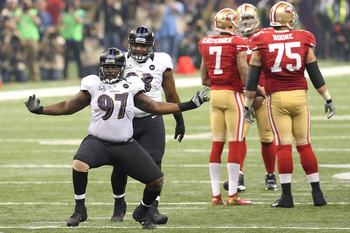 NEW ORLEANS, LA - FEBRUARY 03:  Arthur Jones #97 of the Baltimore Ravens reacts against the San Francisco 49ers during Super Bowl XLVII at the Mercedes-Benz Superdome on February 3, 2013 in New Orleans, Louisiana.  (Photo by Ronald Martinez/Getty Images)
