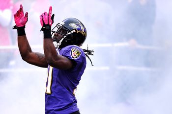 BALTIMORE, MD - OCTOBER 14: Cornerback Lardarius Webb #21 of the Baltimore Ravens points to the sky as he introduced before playing the Dallas Cowboys at M&T Bank Stadium on October 14, 2012 in Baltimore, Maryland. The Baltimore Ravens won, 31-29. (Photo
